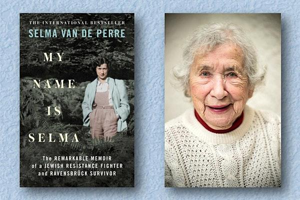 book cover and photo of Selma Van de Perre